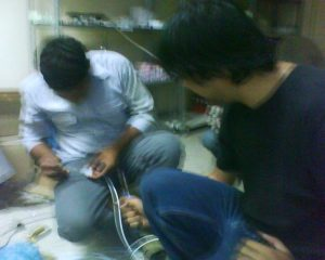 farooq , zohaib setting up ip cameras for demo